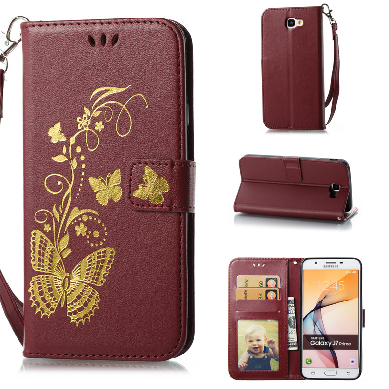 Flip Cover For Samsung Galaxy J7 Prime Case Gold stamp Golden butterfly PU Leather Photo Frame Wallet Stand Mobile Phone Cases
