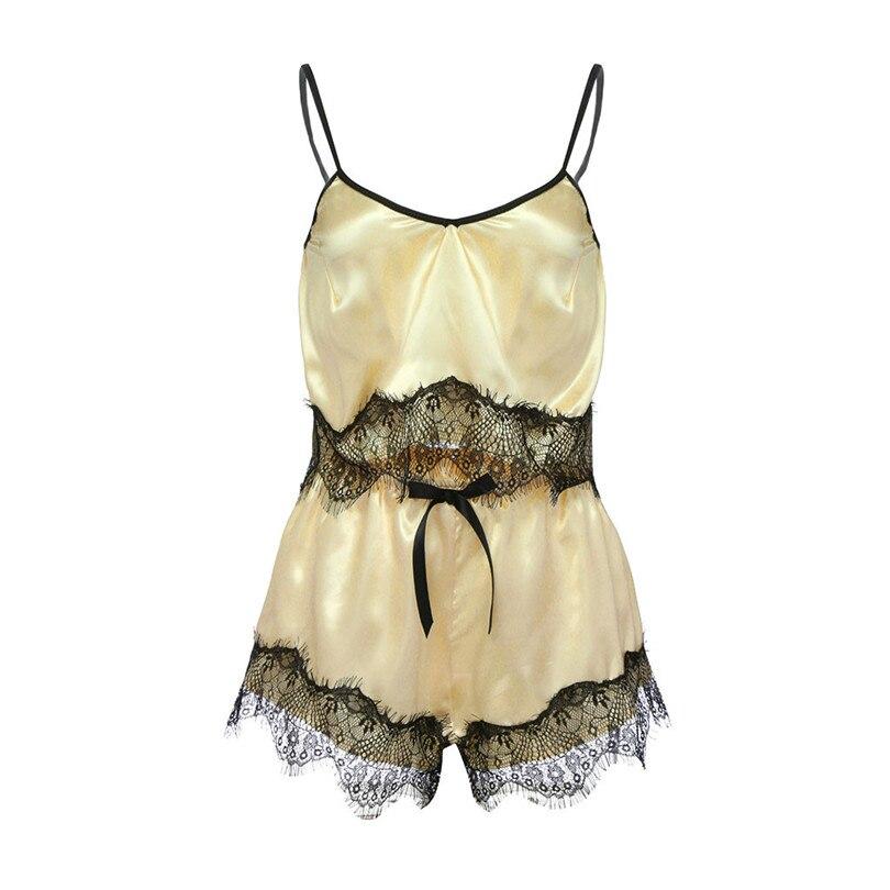 V Neck Sexy Pajamas For Women Sleeveless Lace Pajamas Solid Sleepwear Sets Shorts Home Clothes Nightwear Lingerie Pijama 40JY7