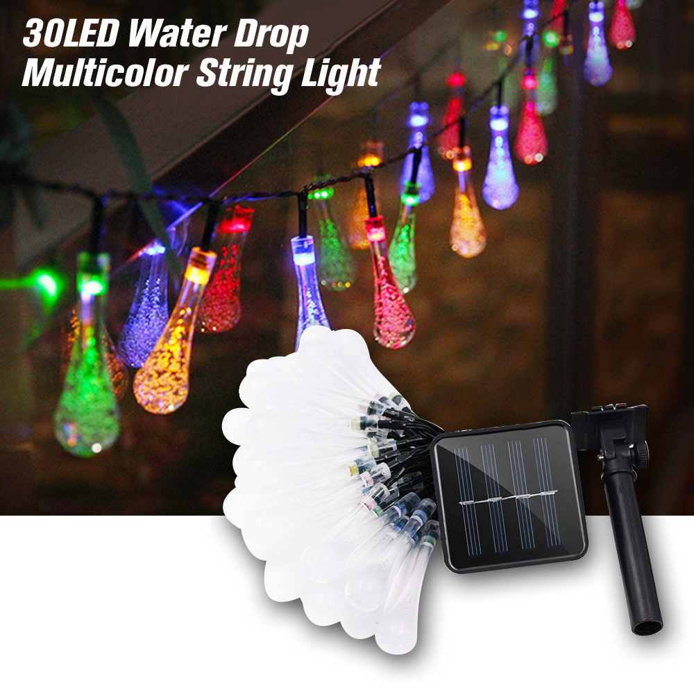 Decorative solar powered lights 30led water drop - Indoor string lights ideas ...