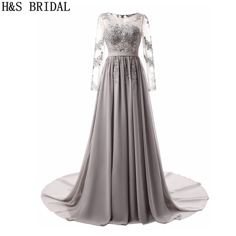 H S BRIDAL Long Sleeve Evening Dress Gray Lace Applique evening dresses long Beading Gowns Chiffon