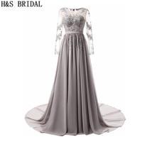 H&S BRIDAL Long Sleeve Evening Dress Gray Lace Applique evening dresses long Beading Gowns Chiffon Prom Dresses robe de soiree