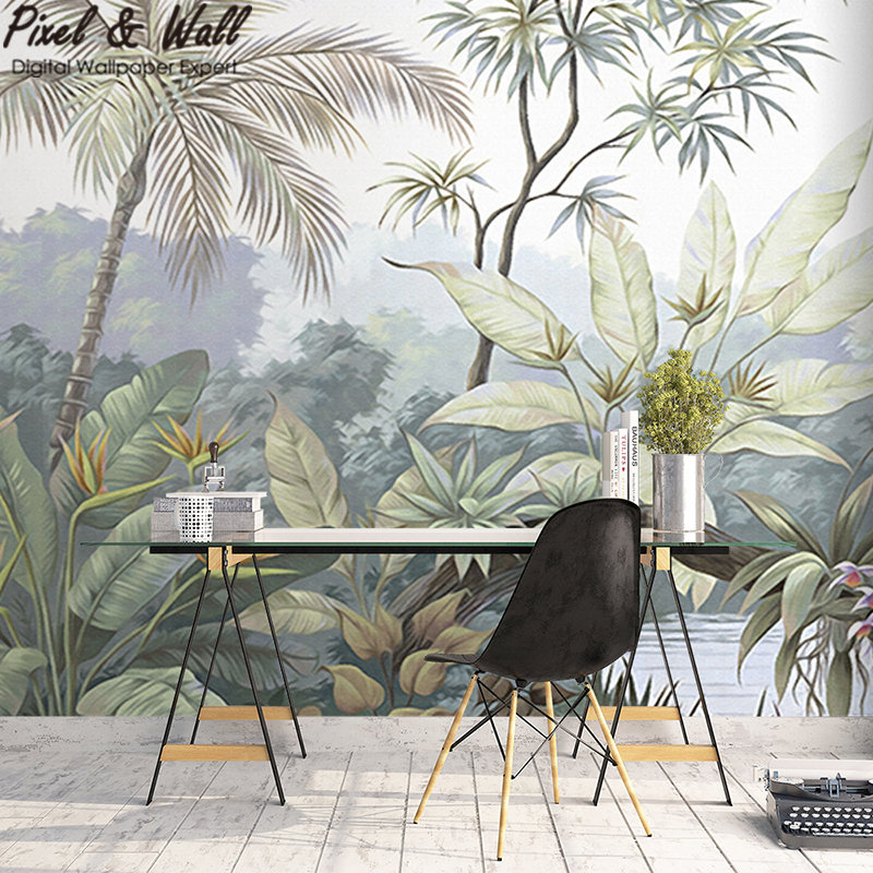 Tropical Jungle Wall Mural Green Forest Wallpaper PW20181009027