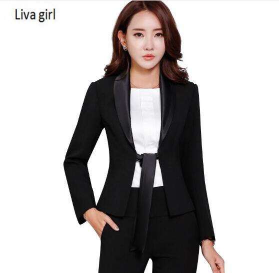 2018 fashion Business bow tie slim pant suits spring elegant long sleeve blazer and pants office ladies plus size work wear