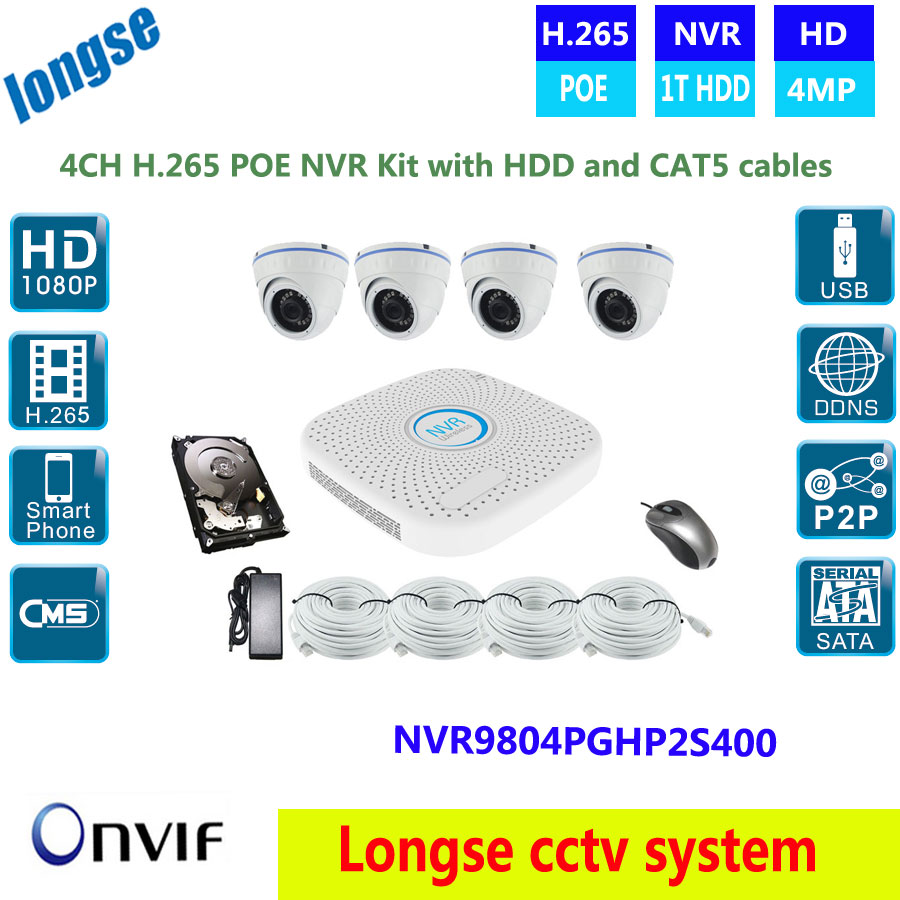 H.265 CCTV 4.0MP dome Network Security POE Camera ,4ch POE NVR System Kit 1T/2T/3T/4T HDD option video surveillance, CAT5 cable annke hd 1080p 2 0mp 4ch nvr network poe dome outdoor cctv security camera system surveillance kit 1tb hdd