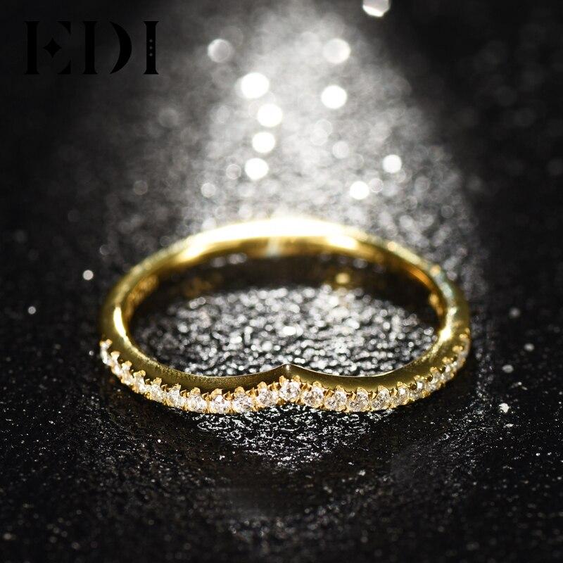 EDI Для женщин 18 К желтый из натуральной реального h/SI Регулируемые кольца для Для женщин свадебные Обручение брендов Кольца Ювелирные украше