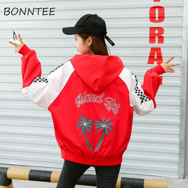 Jackets   Women Hooded Loose Letter Printed Patchwork Fashion Outerwear Womens Zipper Pockets Korean Style Harajuku   Basic     Jackets