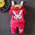 2016 meninas define outono e inverno nova moda Coreano terno de veludo grosso padrão de coelho dos desenhos animados das crianças hoodies + calças