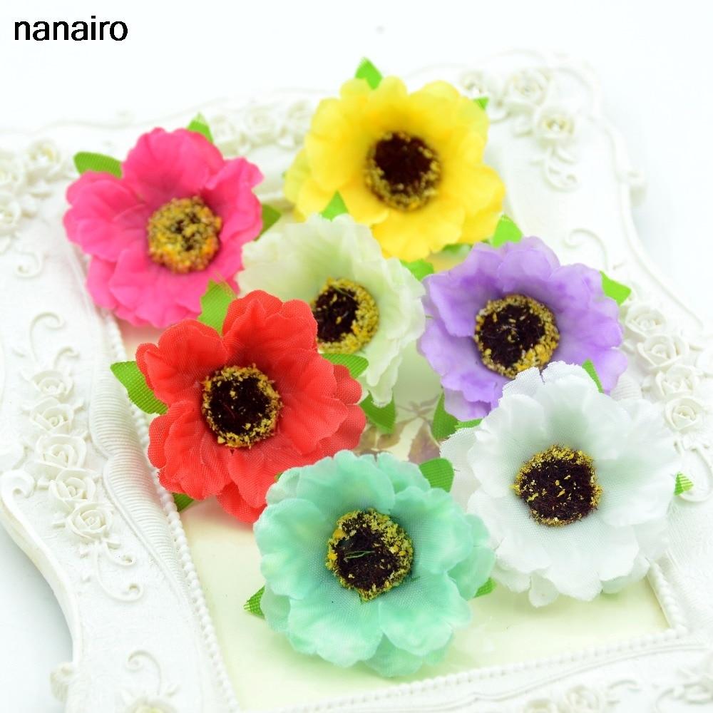 Online Shop 30pcs Lot Mini Silk Artificial Daisy Flower Head