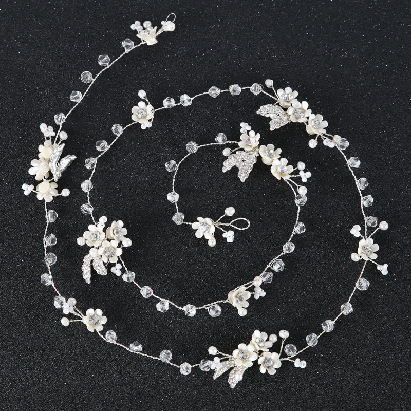 90cm Bride Handmade Pearl Crystal Hair With Headdress Wedding Dress Accessories Hair With Bridal Jewelry Long 0.9 Meter Hairband