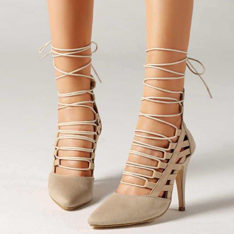 2019 Yeni Roma Dantel up Moda Kadın Ayakkabı Siyah Yüksek Topuklu Pointe Ayak Gladyatör Sandalet Yaz Pompaları yarım çizmeler WXG707
