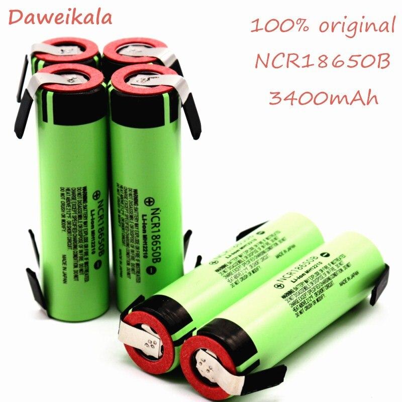 10 pièces batterie d'origine 18650 3400 mah ncr18650B avec bandes soudées batteries pour tournevis cigarette électrique et lumières