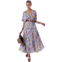 Robe Sexy Boho Dress 2017 Floral Print Summer V Neck Tassel Batwing Short Sleeve Casual Women
