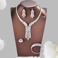 Dazz 4PCS Luxury Dubai Jewelry Set For Women Wedding Cubic Zircon CZ Indian African Bridal Tassel Pendant Necklace Earrings 2019