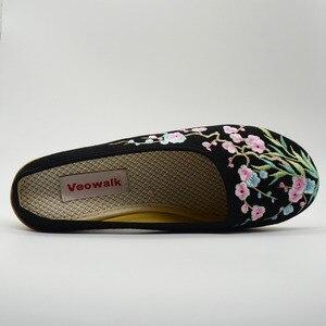 Image 4 - Veowalk chaussures brodées Floral pour femmes, haut de gamme, talon moyen, style décontracté, pour lété, commode, sandales, collection chaussons compensés