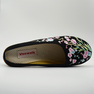 Image 4 - Veowalk גבוהה סוף פרחוני רקום נשים של בד מזדמן נעלי טריז בינוני העקב קיץ Comfot שקופיות נעלי Sandials Mujer