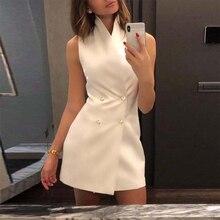 9145f68600 Kobiety 2019 lato Hot moda na co dzień elegancki bez rękawów przycisk Up  dwurzędowy krótki Mini sukienki Sexy Party w stylu Vint.