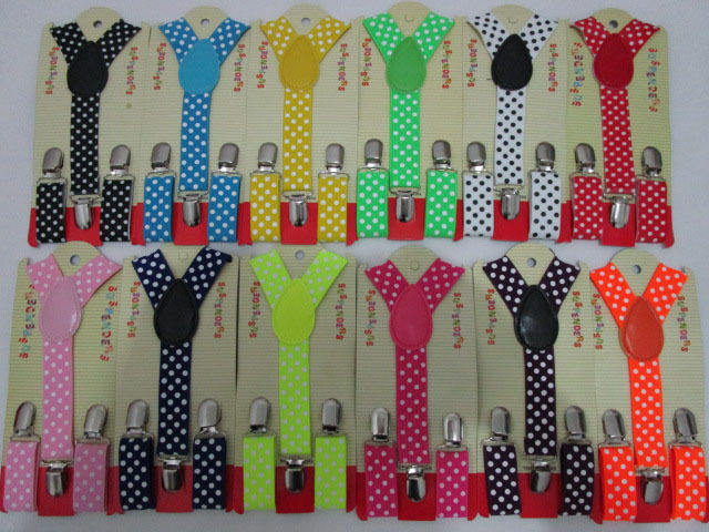 Free Shipping  New Fashion Kids Child  Black White Color Polka Dot Suspenders Boyes Girls For 1-8 Years