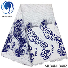 BEAUTIFICAL African Lace Rhinestones French Tulle Fabric Embroidery Nigerian 2019 ML34N134