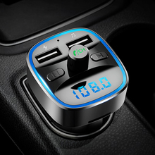 CDEN Car MP3 Bluetooth5.0 FM Transmitter Charger U disk lossless music playback Bluetooth hands-free calling Voltage display