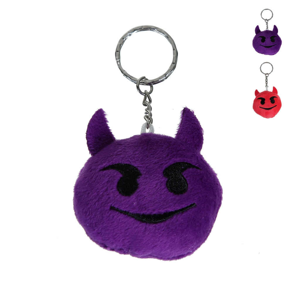 Doreen Box New Cartoon Expression Key Chains Rings Purple Red Devil Face Pendants Harajuku 1 PC