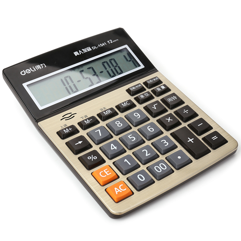 DL  Effective 1542A 12 voice big screen tuhao gold calculator business finance special computer Office supplies DL  Effective 1542A 12 voice big screen tuhao gold calculator business finance special computer Office supplies