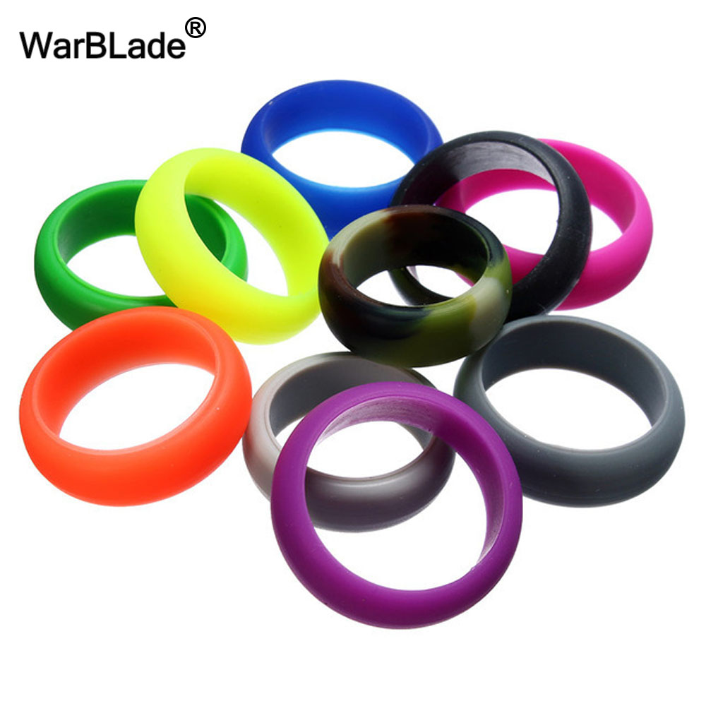 8mm 6-12 Size Food Grade FDA Silicone Ring Hypoallergenic Crossfit Flexible Sports Rubber Finger Rings For Men Women 10pcs/set