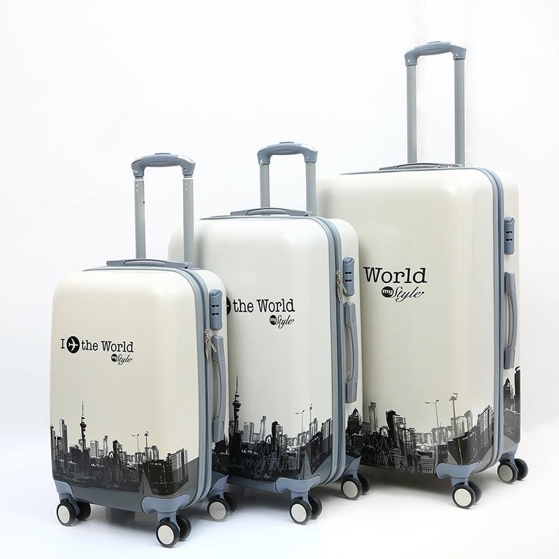 """Genial 3-stück Trolley Fall, Gedruckt Muster Schloss Gepäck, Universal Rad Koffer, Hohe Qualität Pc Clothese Lagerung Valise20 """"24"""" 28"""""""