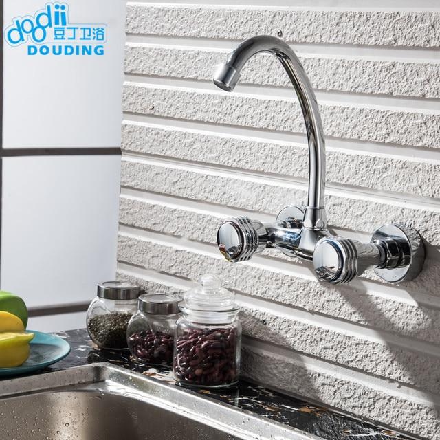 Doodii Doppelgriff Küchenarmatur Mixer Wand Messing Kupfer Verchromt
