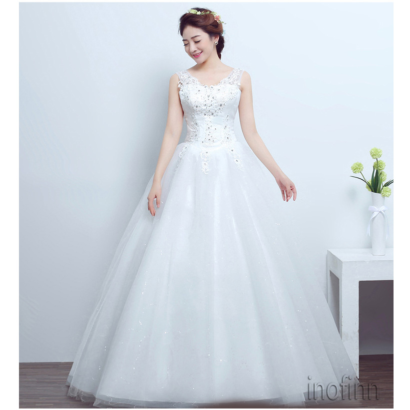 Real Photo Fashion Simple Wedding Dress 2019 Spring Koreal Style Boat Neck Bride Gown Lace with Sequin Princess estidos de noiva