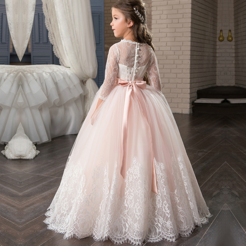 New Arrival Long Sleeve First Communion Dresses Appliques O-neck Lace Up Bow Sash Flower Girl Dresses Custom Made Vestidos