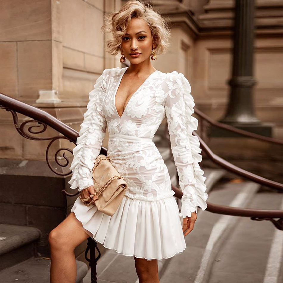 New Fashion Celebrity Evening Party Dress Wome White Long Sleeve V Neck Embroidery Sexy NightClub Lace Dress Women Vestidos|Dresses|Women's Clothing - title=