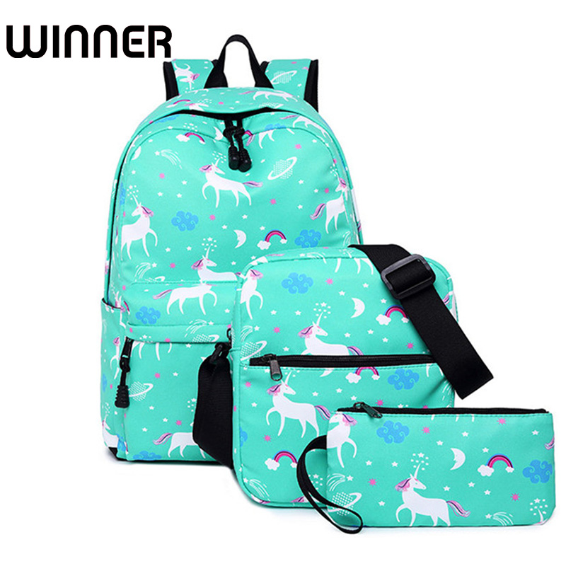 3pcs/set Women Unicorn Printing Backpack Student Book Bag with Purse Laptop Bagpack Lady School Bag for Teenager Girls canvas printing women backpack student book bag with phone bag laptop 3pcs set girls school bag for teenager bagpack female