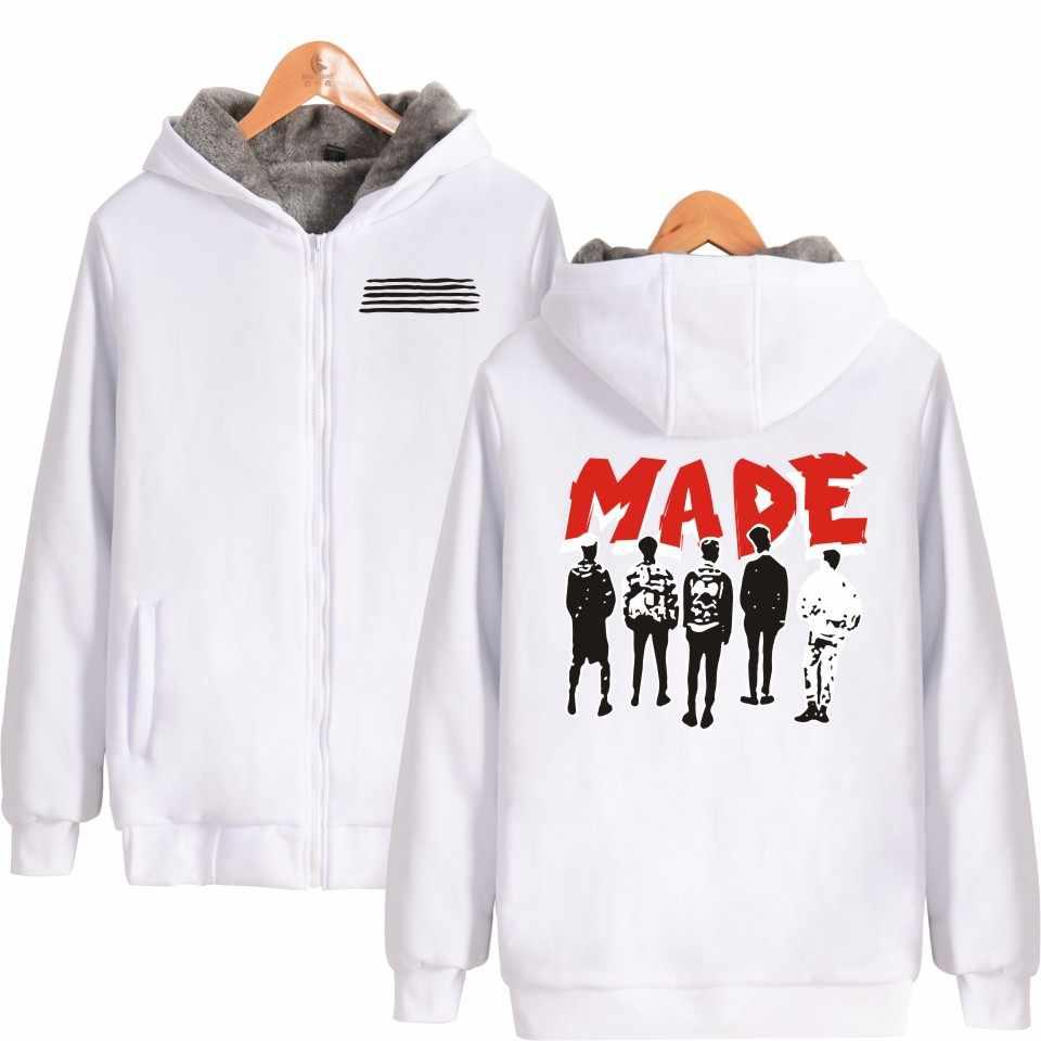 K-pop سميكة الدافئة البلوز BIGBANG صنع Kpop الكرتون الشتاء سستة هوديس ملابس حريمي قبعة هوديي المتضخم هوديي 4xl