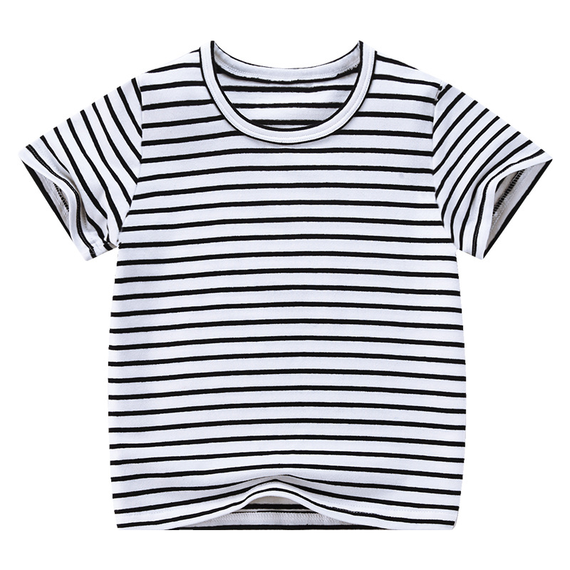 VIDMID Boy Girl Tee Solid Color t-shirts Baby Boys Girl T-shirts Summer striped Short Sleeve Kids Tees Children Clothing 7042 06 6