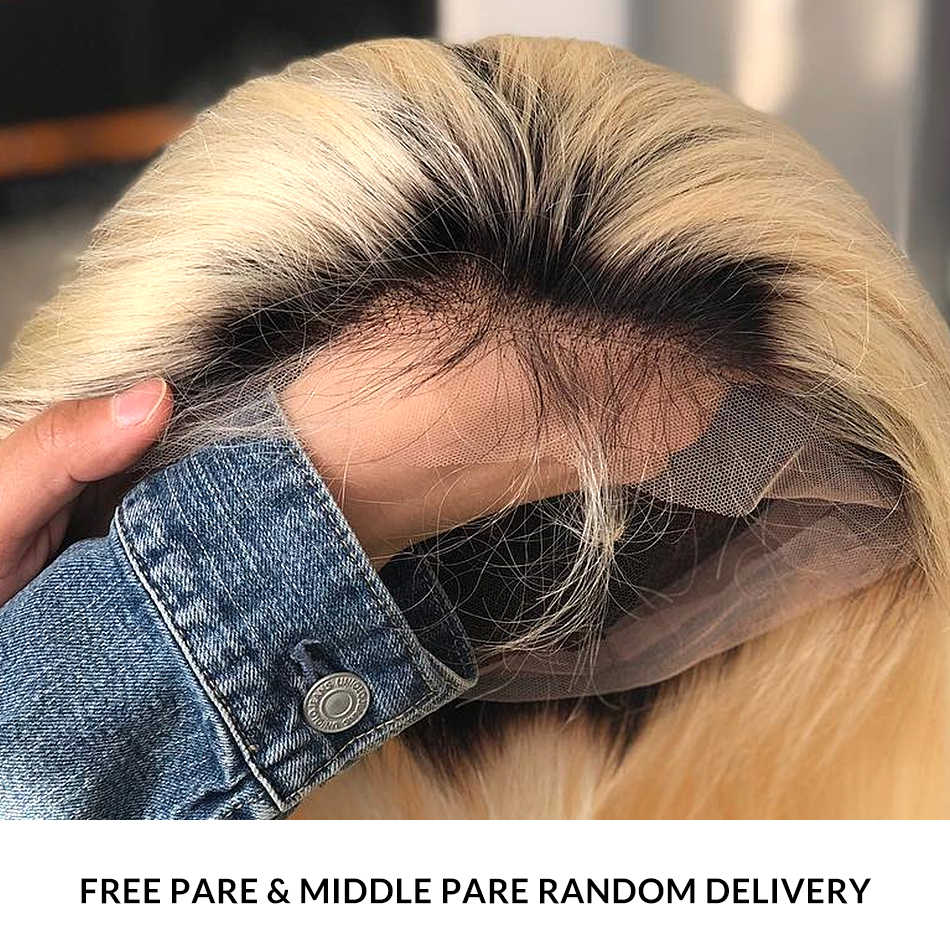 1B 613 Ombre Blonde 13x6 Lace Front Human Hair Wigs For Black Women Brazilian Short Bob Straight Frontal Wigs pre plucked