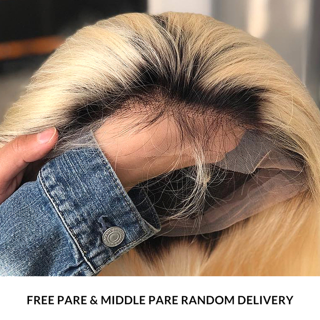 Ombre Blonde 13×6 Lace Front Human Hair Wigs Brazilian Short Bob Straight Frontal Wig