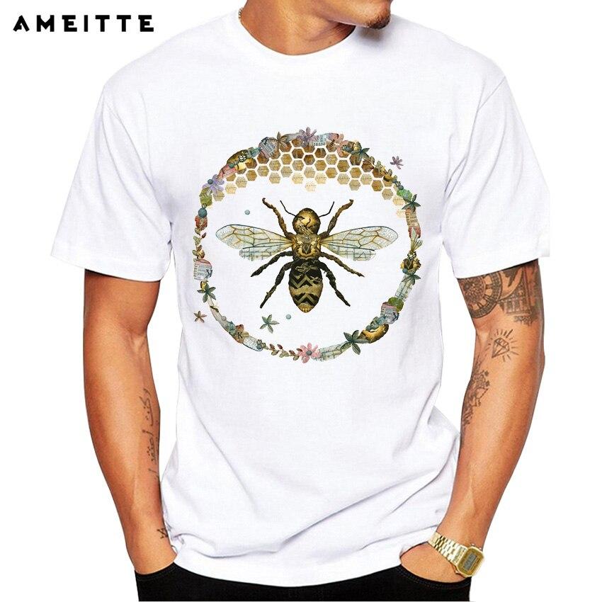 2018 Ameitte Bee Honey Printed T Shirt Men's Hipster Animals Print Tops Summer Comfortable Soft O-neck Short Sleeve Tee Shirt