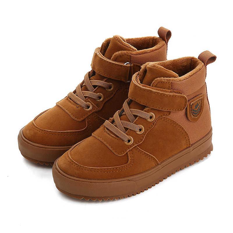 6ff69eb1d Повседневная Спортивная обувь 2019 новая зимняя детская кожаная обувь  дышащие бархатные теплые детские сапоги для мальчиков