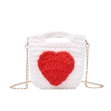 2019 new rope braided handbag luxury brand love lady shoulder bag cute mini change clutch metal chain