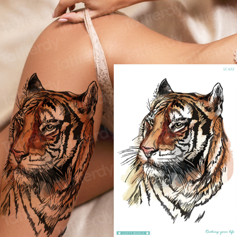 Temporary Tiger Tattoo Waterproof Temporary Tattoo Animals Wolf Fox Moose Tattoos Unicorn Horse Sexy Fake Tatoo For Woman Girls
