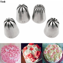 4pcs/Set Large Cake Cream Nozzles Icing Piping Nozzles Pastry Tools Stainless Steel Cupcake Russian Pastry Cream Tips Bakeware sophronia 90pcs set pastry nozzles and korean style stainless steel pastry piping nozzles tips russian tulip set cs096