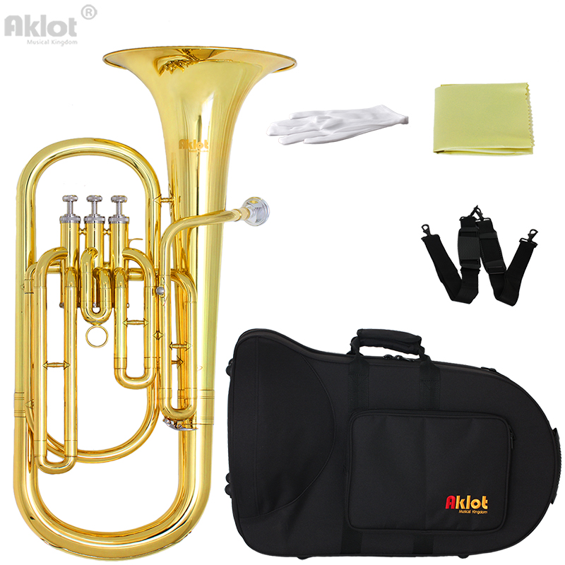 Aklot Bb Baritone Horn Silver Plated Mouthpiece Gold Lacquered Brass Body Stainless Steel Valves with Case bb f tenor trombone lacquer brass body with plastic case and mouthpiece musical instruments