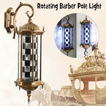 220 V LED מספרה סימן מוט אור שחור לבן רטרו עיצוב Roating סלון קיר תליית אור מנורת סלון יופי מנורת חדש