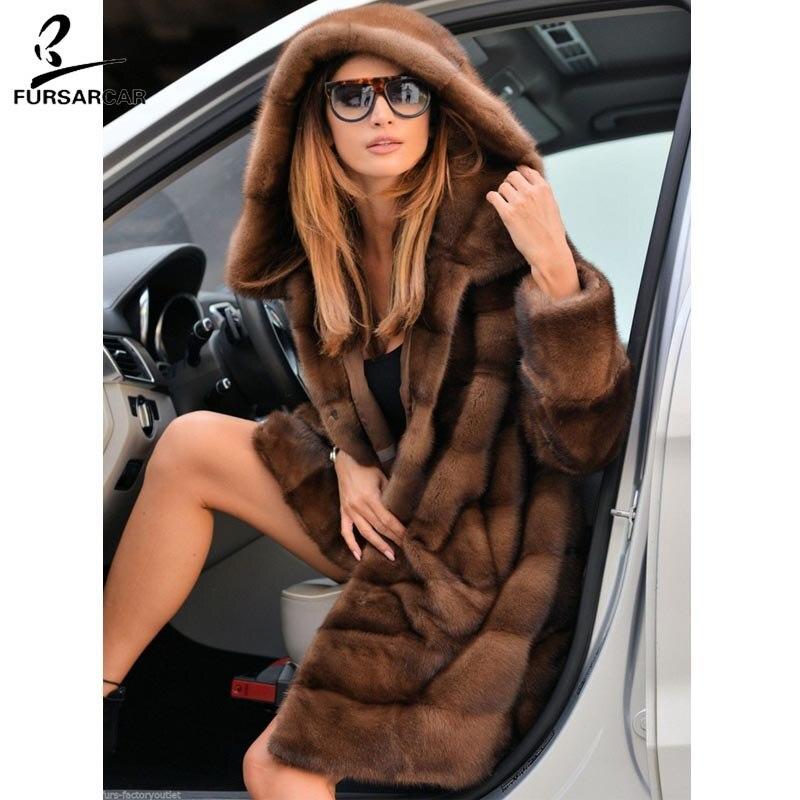 FURSARCAR Complet Pelt De Luxe Réel De Fourrure De Vison Manteau Femmes Avec Grand Capuchon De Fourrure De Mode D'hiver Chaud Veste Femme Fourrure De Vison manteau