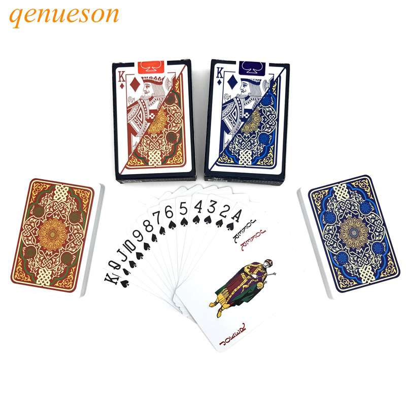 New Hot Pattern Baccarat Texas Hold'em PVC Plastic Playing Cards Waterproof Poker Card Board Bridge Game 2.28*3.46 Inch Qenueson