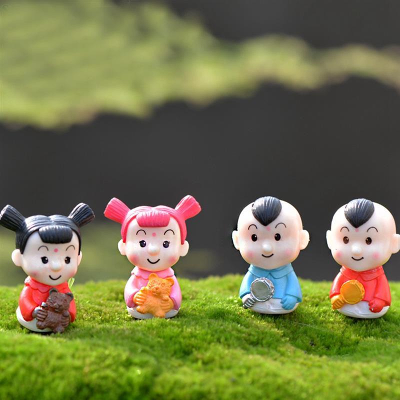 Kawaii Baby Kids Couple Figurines Miniatures Fairy Garden Gnome Moss Terrariums Resin Crafts Decoration Accessories