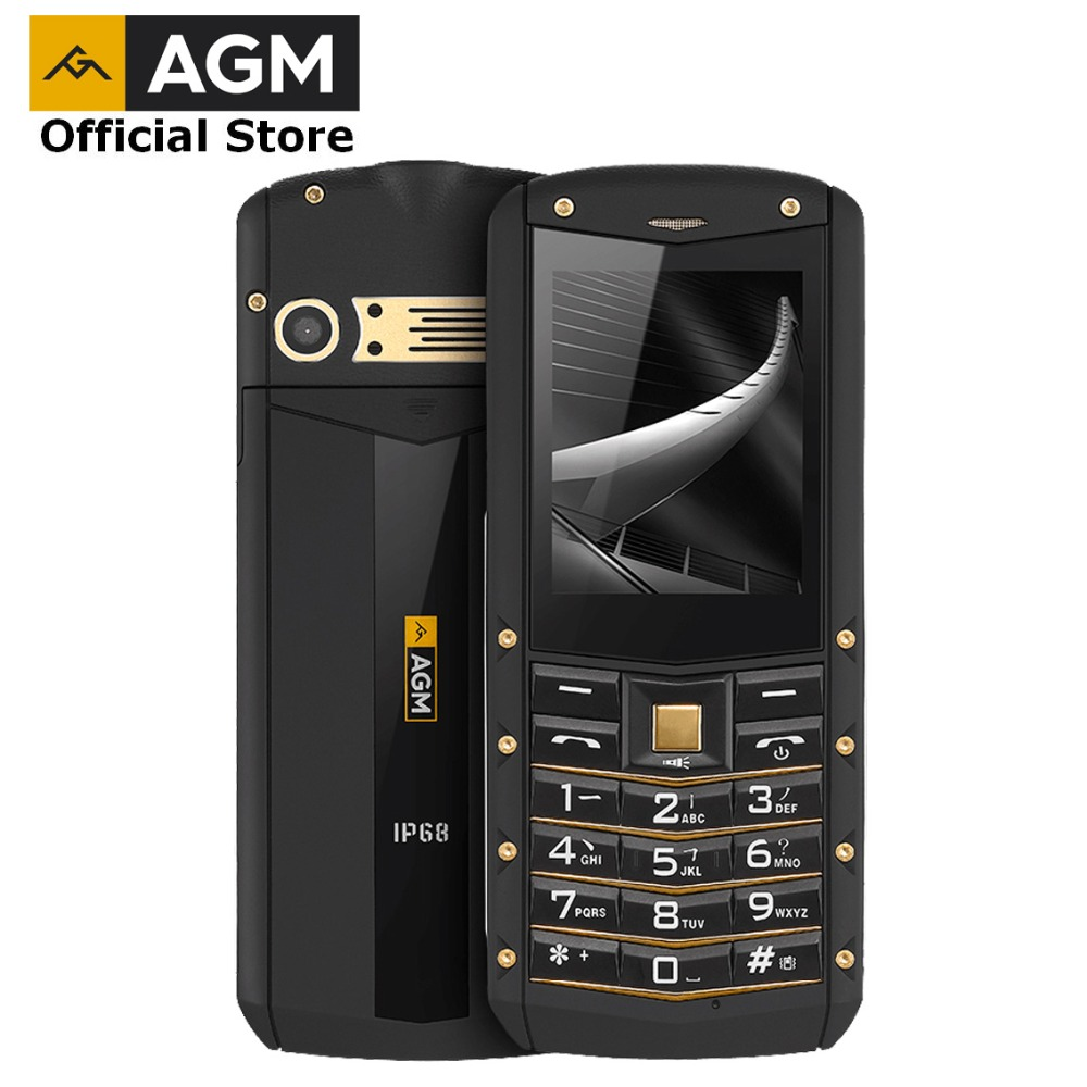 OFFICIAL AGM M2 2.4 Feature Phone 2G GSM Dual SIM Rear 0.3MP Outdoor Phone IP68 Waterproof Shockproof Flashlight 1970mAh TF 32G
