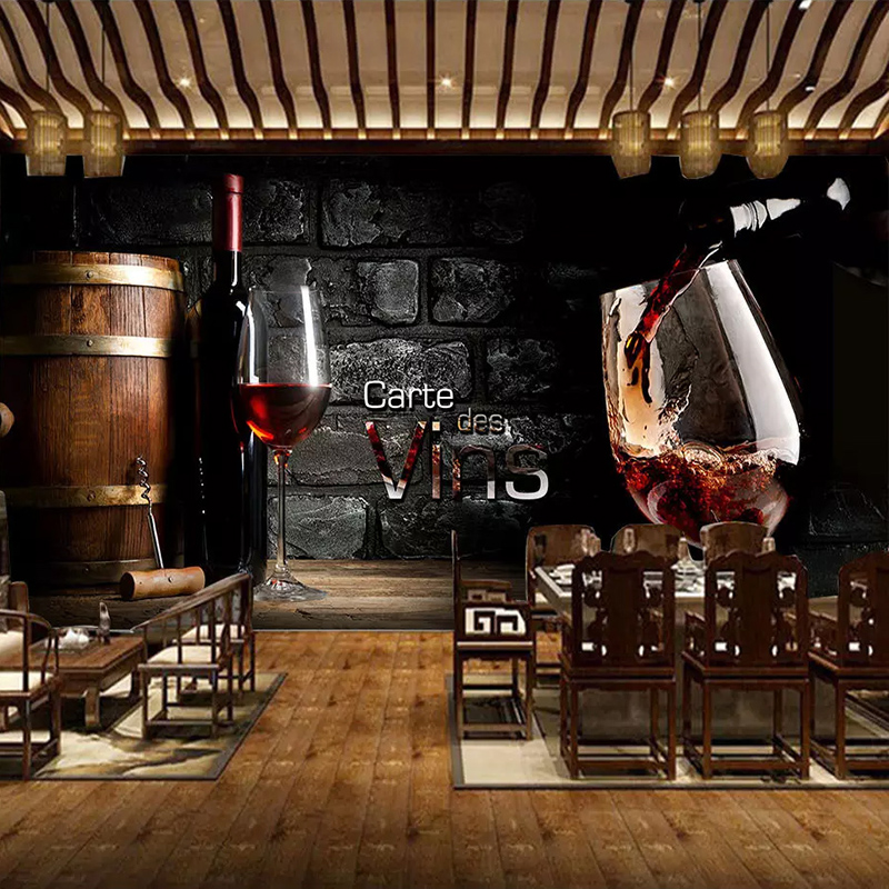 Custom 3D Wallpaper European Style Retro Red Wine Brick Wall Background Wall Painting Western Restaurant Bar Winery Decor Mural