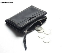 Genuine Leather Men Women Wallet Short Zipper Black Wallet Fashion Coin Purse Brand Design Card Holder Multifunction Wallet contact s brand genuine leather women wallet zipper