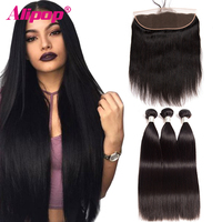 Alipop   Hair   Brazilian Straight   Hair   Bundles   With   Frontal Human   Hair     Weave   Bundles   With     Closure   Remy Lace Frontal   With   3 Bundles